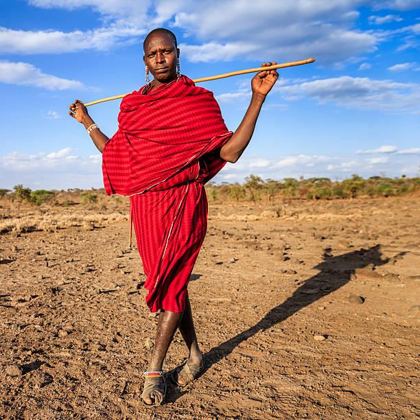 warrior from maasai tribe, kenya, africa - kenyan culture stock photos and pictures
