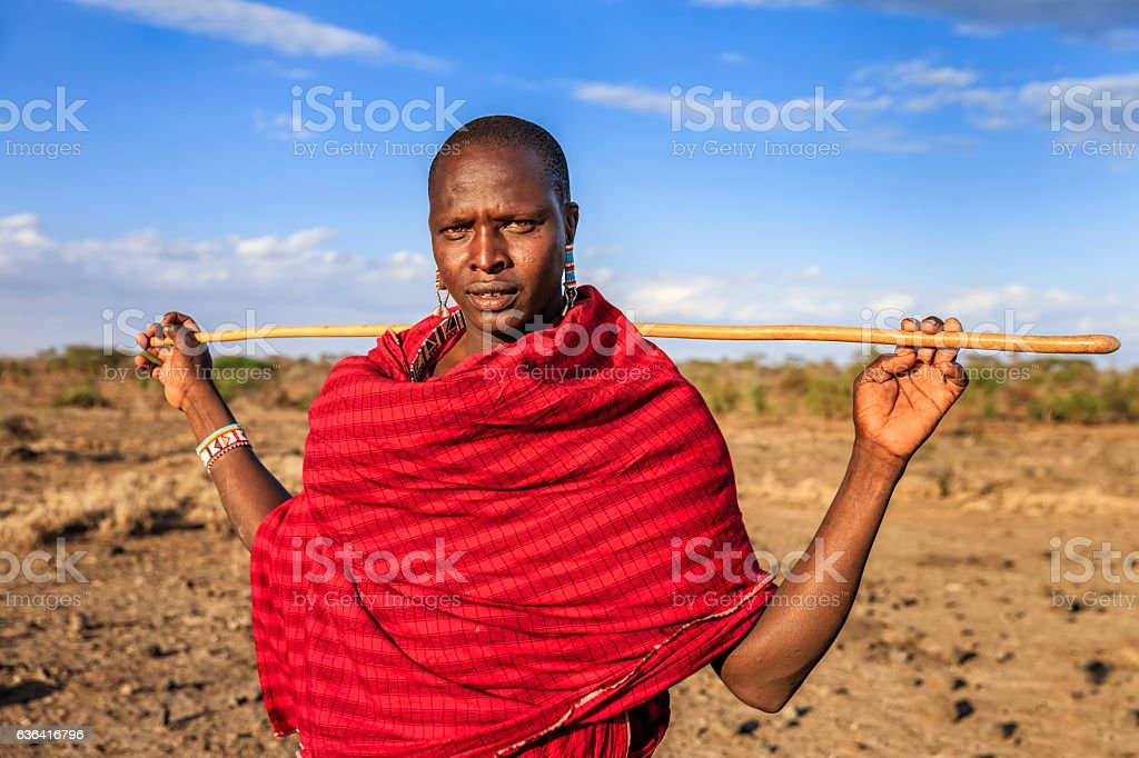 Warrior from Maasai tribe, Kenya, Africa stock photo
