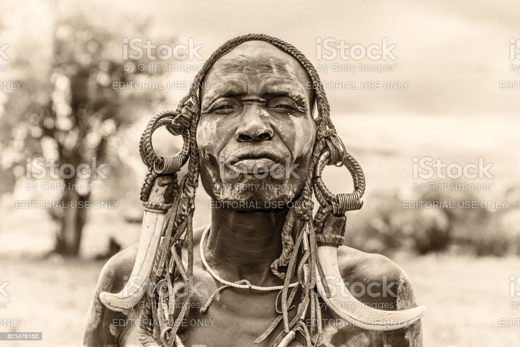 Krieger vom african tribe muscat grape, Äthiopien – Foto