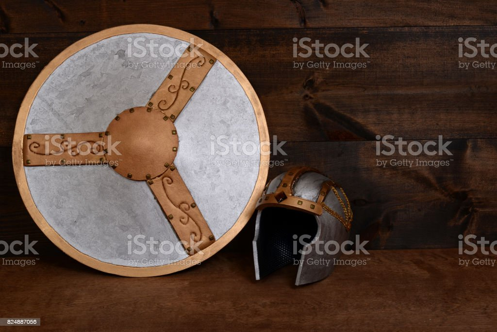 warrior helmet and shield stock photo