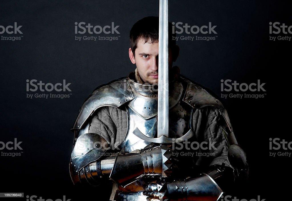 Warrior holding his great sword stock photo