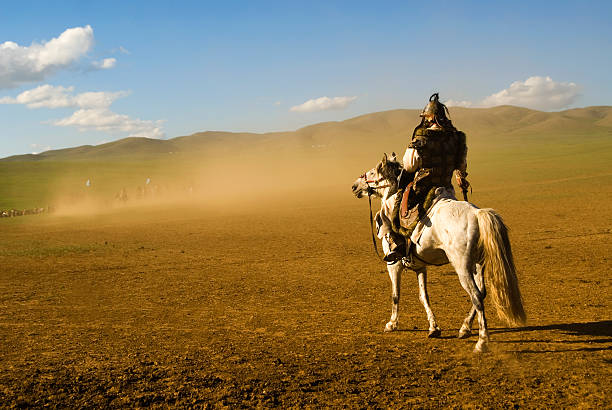 warrior in genghis khan historical reenactment - knight on horse stock photos and pictures