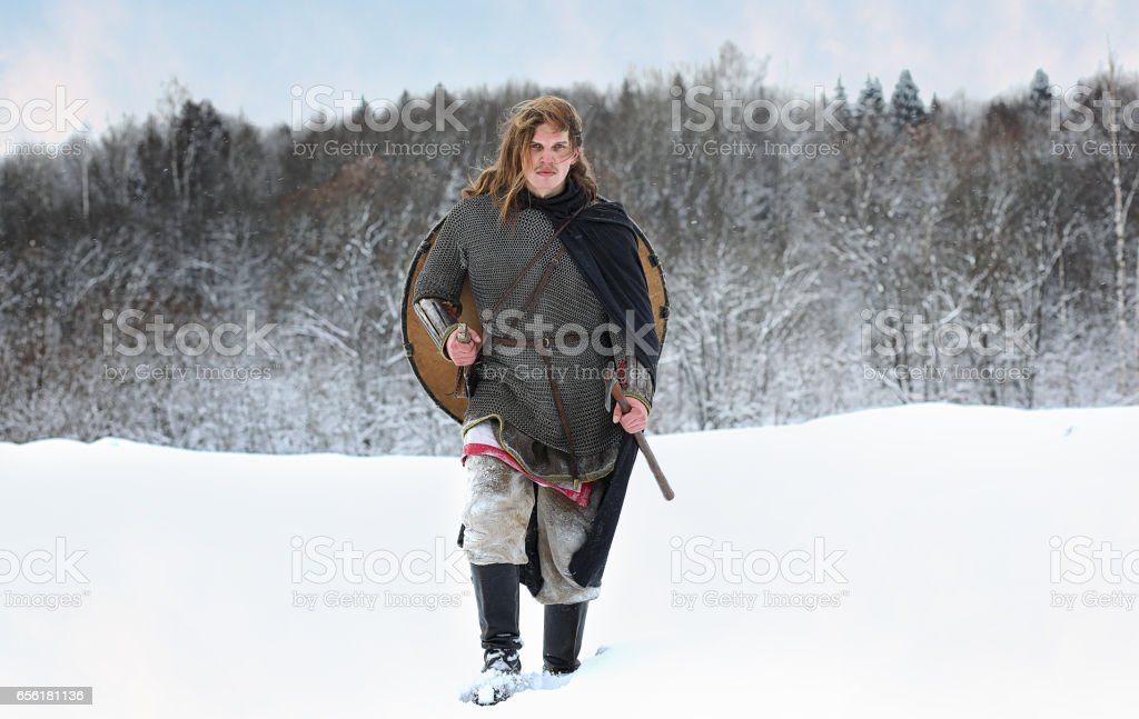 Warrior of the squad on order protection in the equipment of nor stock photo