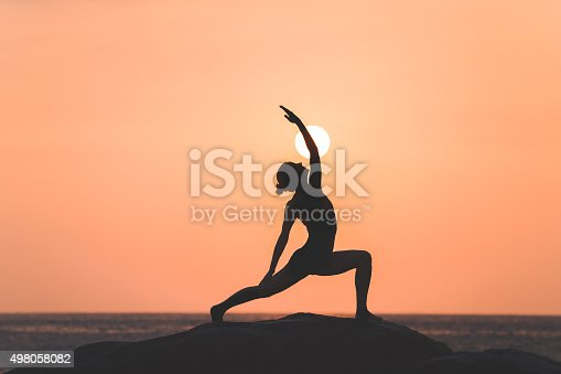istock Warrior pose from yoga 498058082