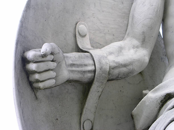 Warrior Strong Arm and Shield Statue Detail stock photo