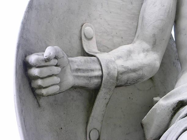 Guerrier des bras et bouclier Statue du détail - Photo