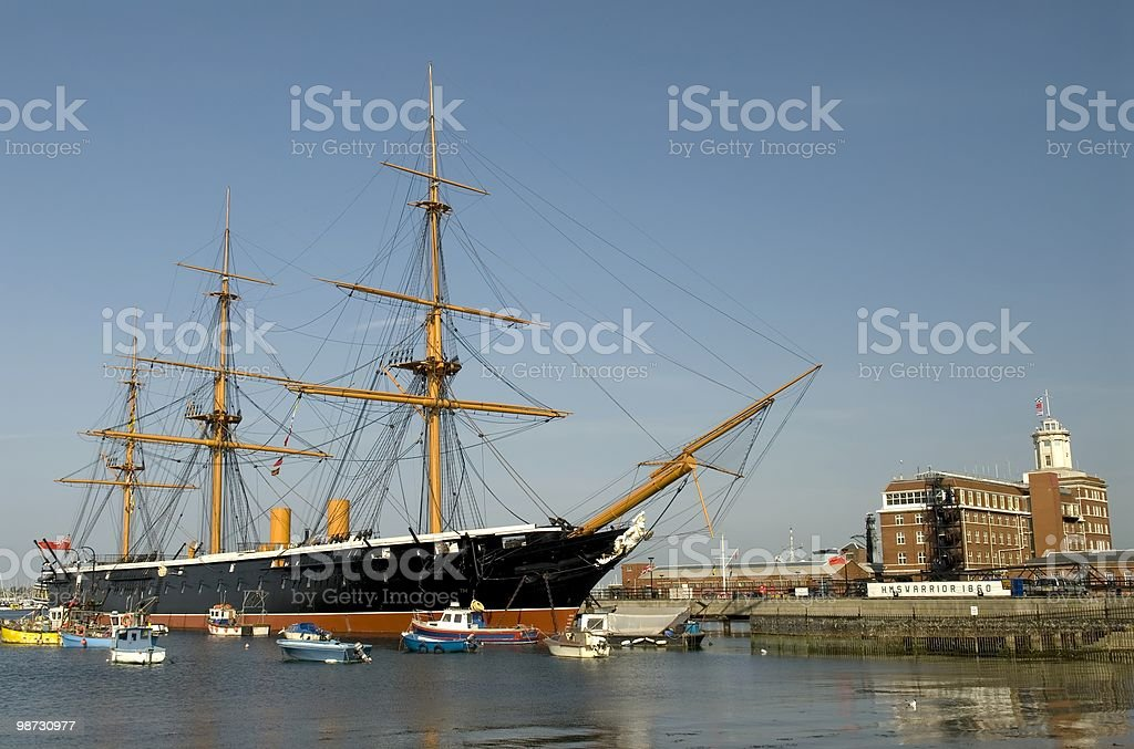 HMS Warrior the first ironclad warship, afloat in Portsmouth royalty-free stock photo