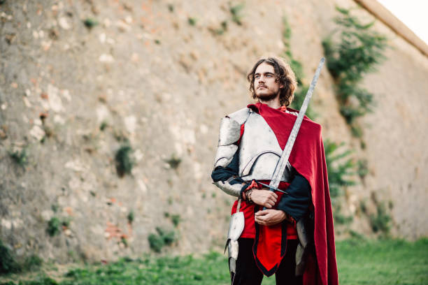 warrior with sword near fortification - knights templar stock pictures, royalty-free photos & images
