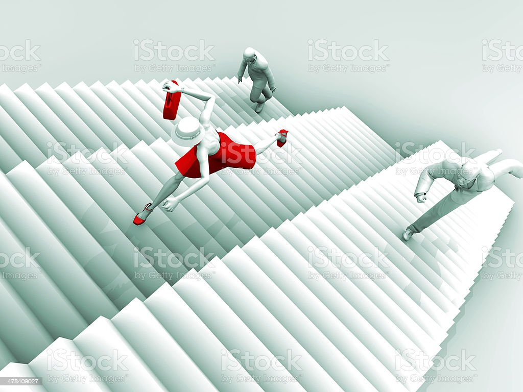 Warrior Woman and Business Stairs royalty-free stock photo
