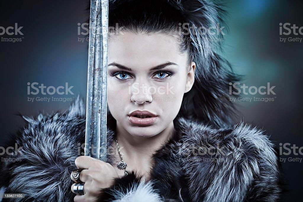 Warrior woman. Fantasy fashion idea. stock photo