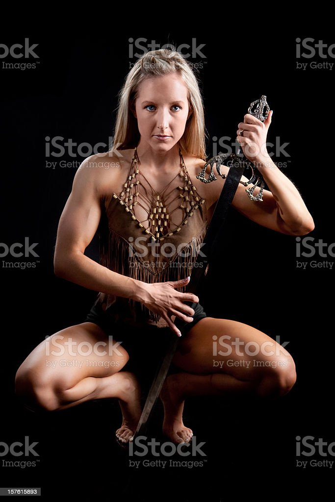 Warrior Woman Holding Sword royalty-free stock photo