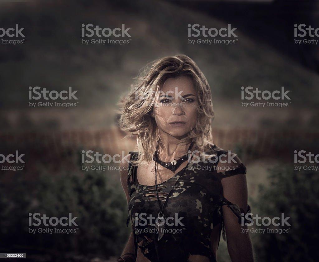 Warrior woman outdoors. stock photo