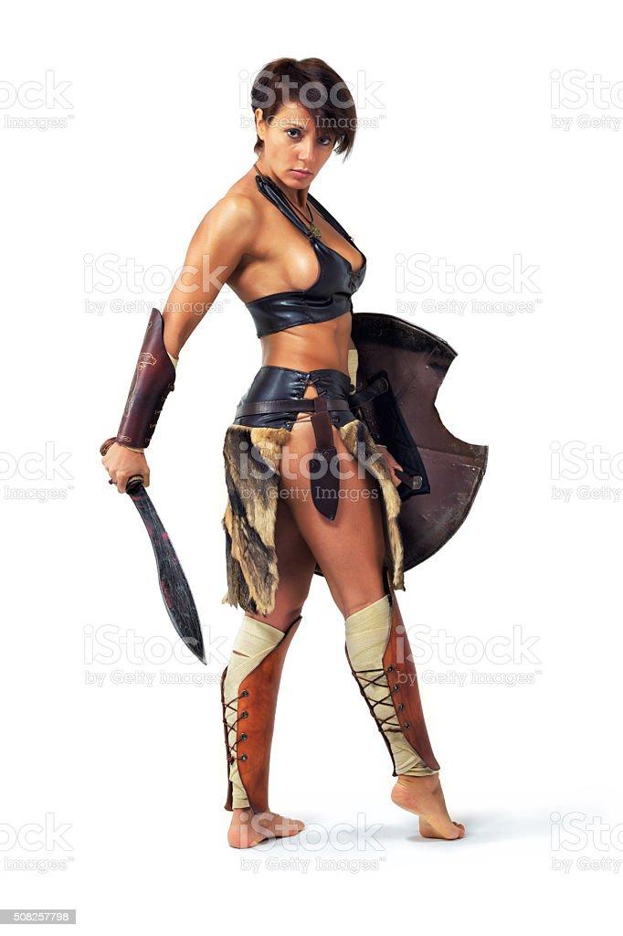 Warrior woman stock photo