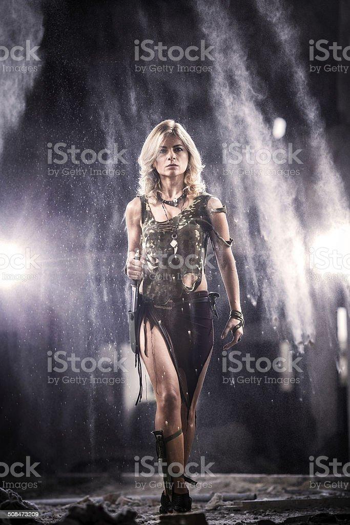 Warrior woman. stock photo