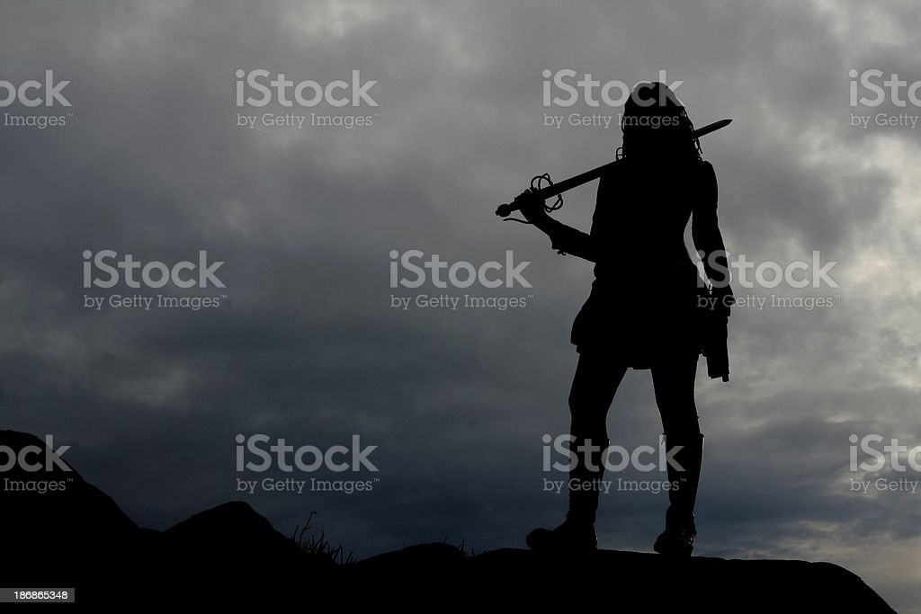 Warrior Woman Silhouette stock photo