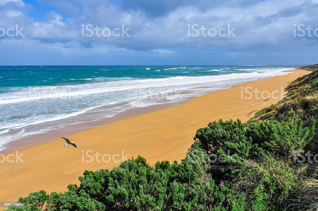 Warrnambool Beach on the Great Ocean Road, Australia stock photo