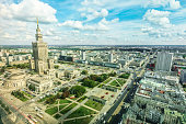 Warsaw aerial View - Culture Palace and sciences