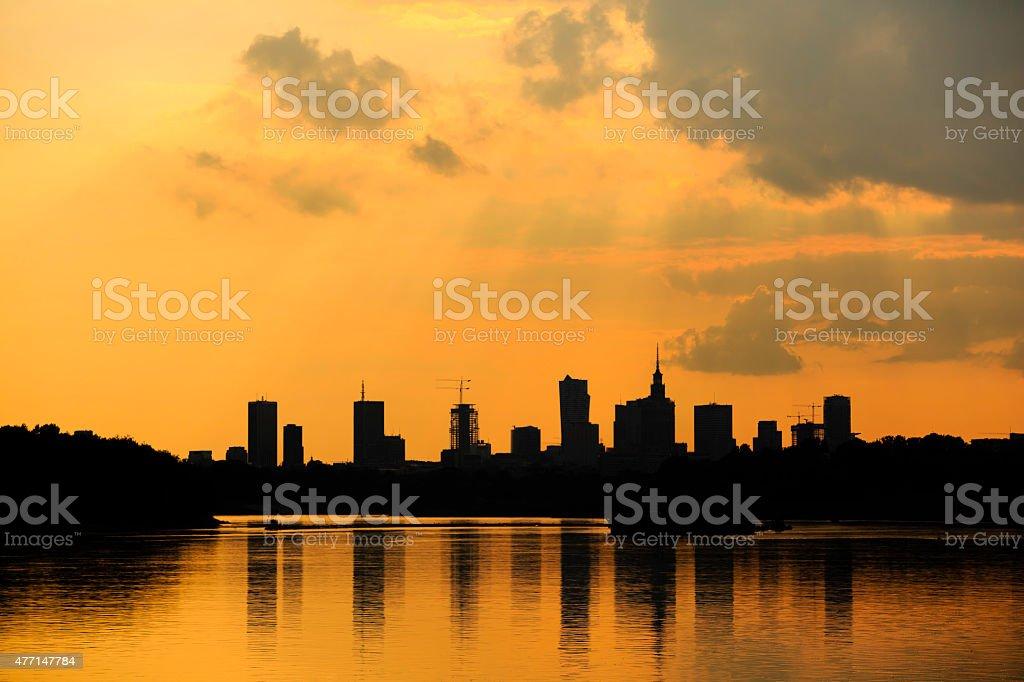 Warsaw at dusk royalty-free stock photo