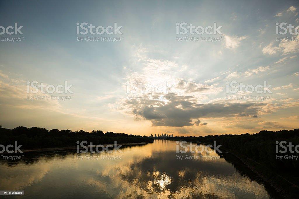 Warsaw at dusk stock photo