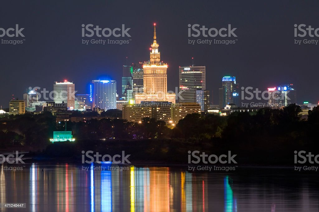 Warsaw by night royalty-free stock photo
