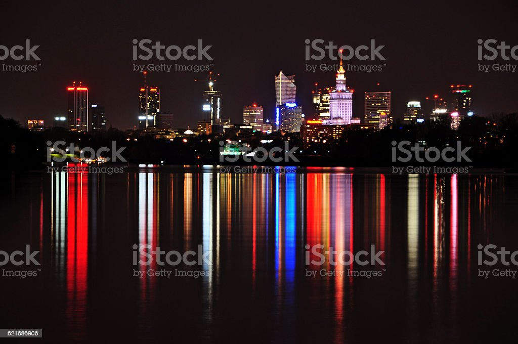 Warsaw by night stock photo