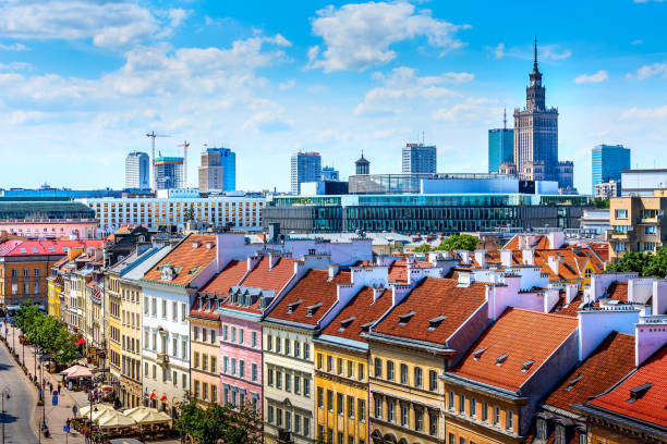 Warsaw, capital of Poland houses aerial view stock photo