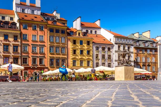 Warsaw, capital of Poland, Market square stock photo
