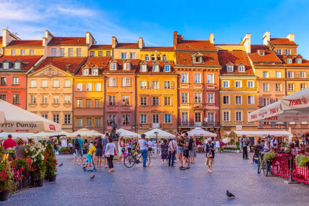Warsaw, capital of Poland market square, sunset stock photo