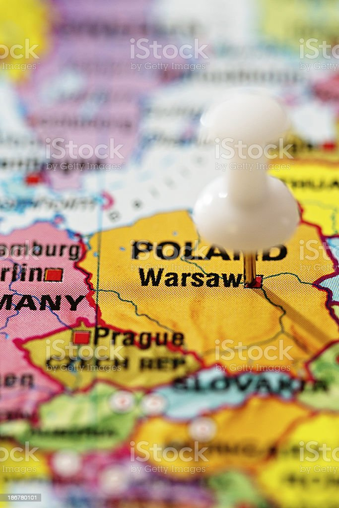 Capital Of Poland Map.Warsaw Capital Of Poland Pinpointed On Map Stock Photo More