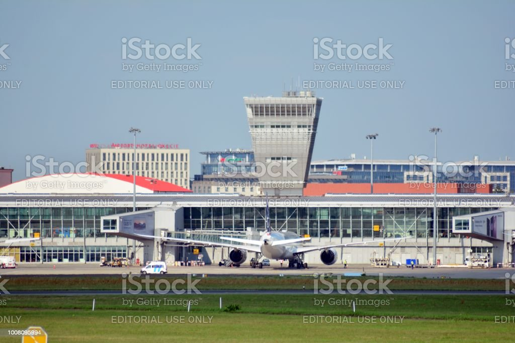 Warsaw Chopin Airport. Airport buildings. stock photo