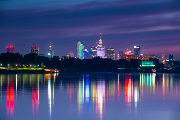 Warsaw city center at night stock photo