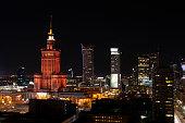 istock Warsaw city center at night 1284992972