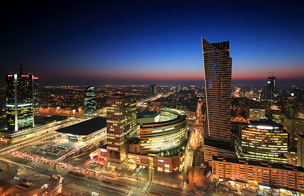 Warsaw city center at sunset stock photo