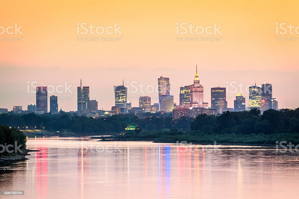 Warsaw city center, capital of Poland stock photo