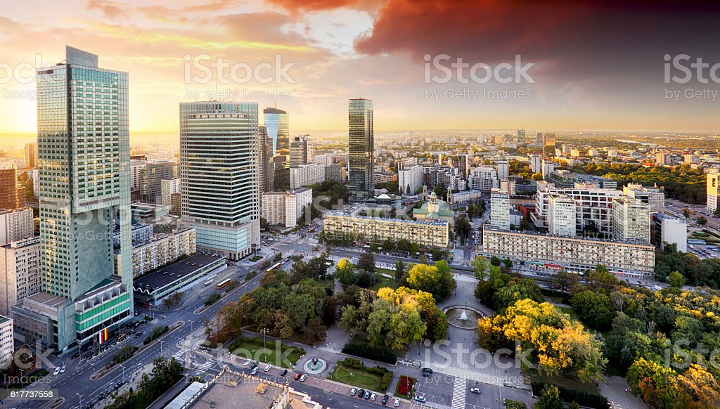 Warsaw city with modern skyscraper at sunset, Poland stock photo