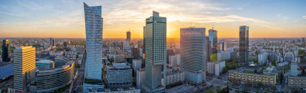 Warsaw city with modern skyscraper at sunset-Panorama