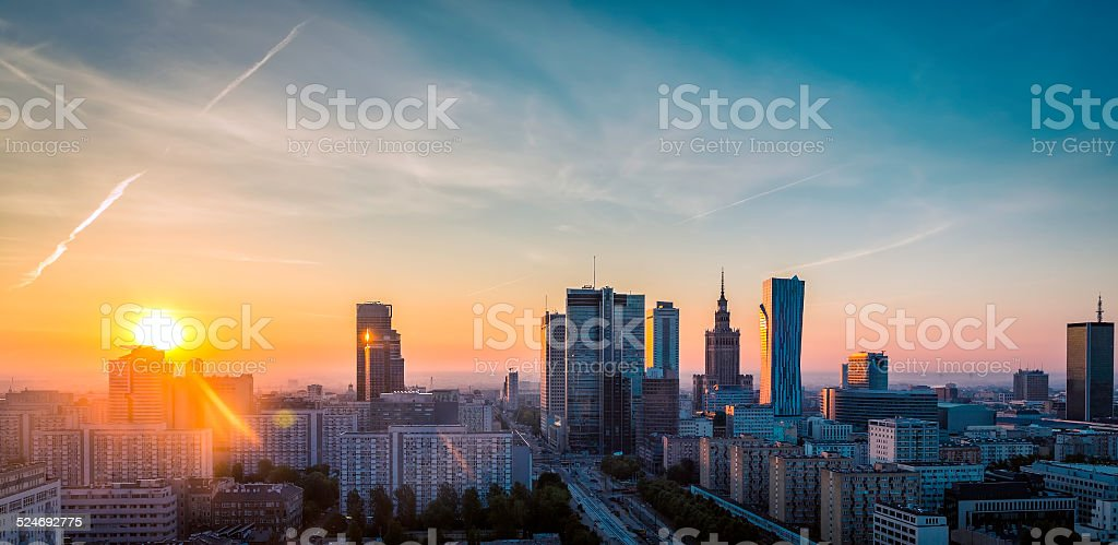 Warsaw Downtown sunrise aerial view, Poland stock photo