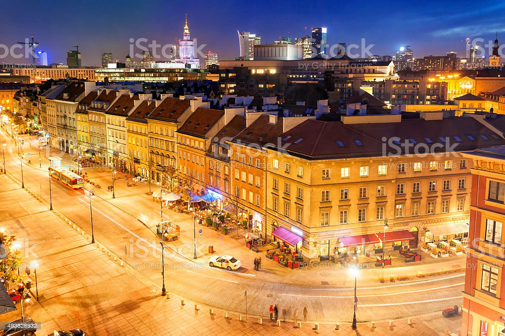 Warsaw, Old Town Illuminated at Night, Poland stock photo