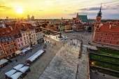 Warsaw Old Town in The Evening Time with a beautiful Sunset - The Old Town is a Unescu heritage