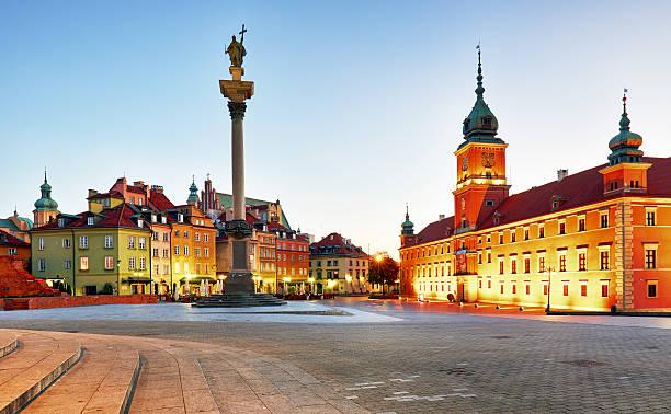 Warsaw, Old town square at night, Poland, nobody – Foto