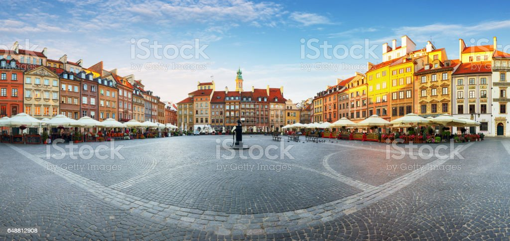 Warsaw, Old town square at summer, Poland, nobody stock photo