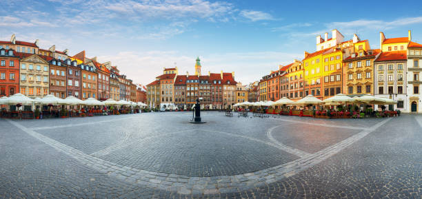 warsaw, old town square at summer, poland, nobody - poland stock photos and pictures