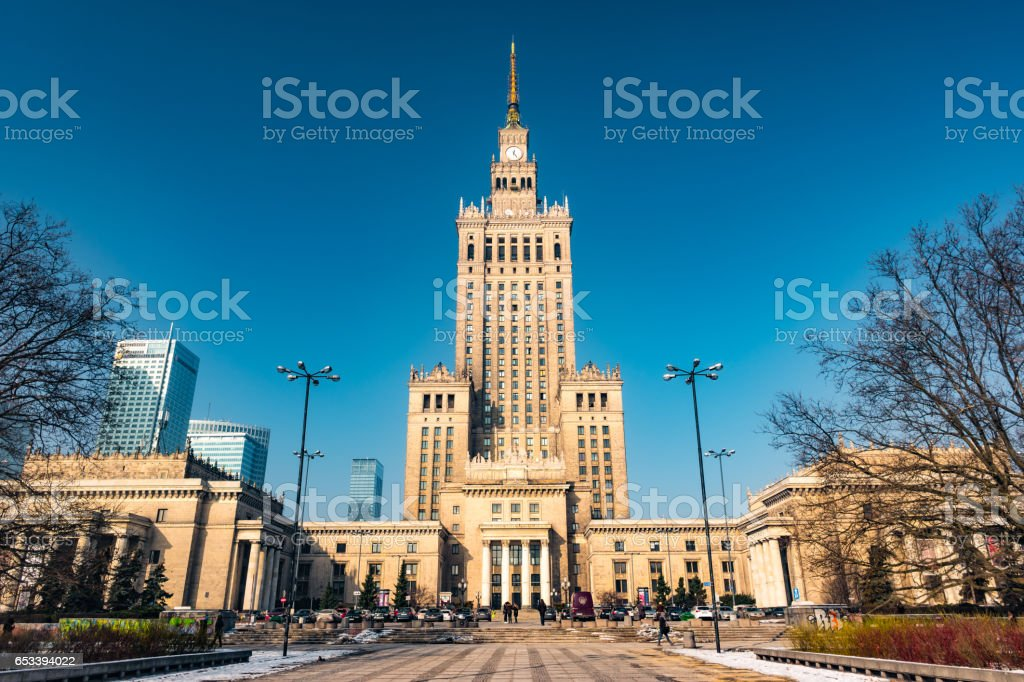 Warsaw Palace of Culture and Science stock photo
