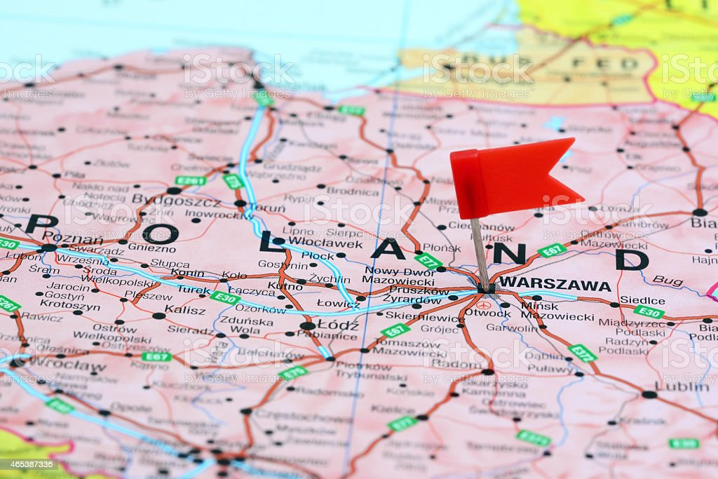 Warsaw Europe Map.Warsaw Pinned On A Map Of Europe Stock Photo More Pictures Of 2015