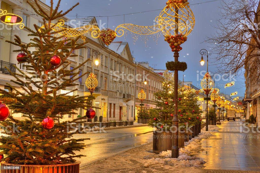 Warsaw, Poland, downtown at Christmas Time stock photo