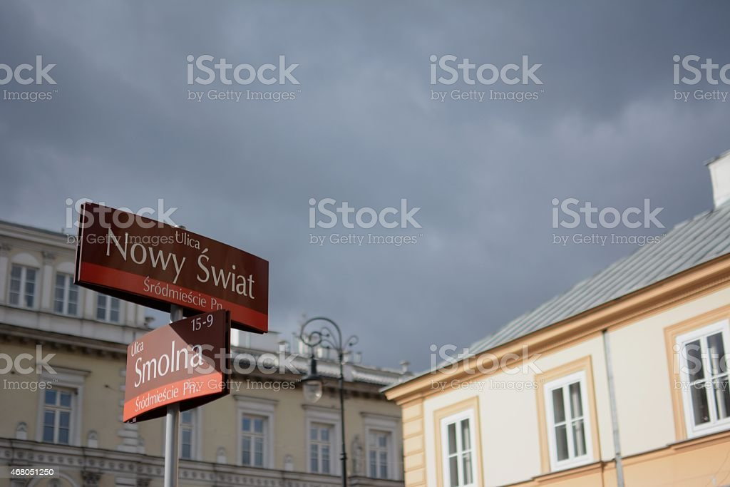 Warsaw, Poland Intersection of Nowy Swiat and Smolna stock photo
