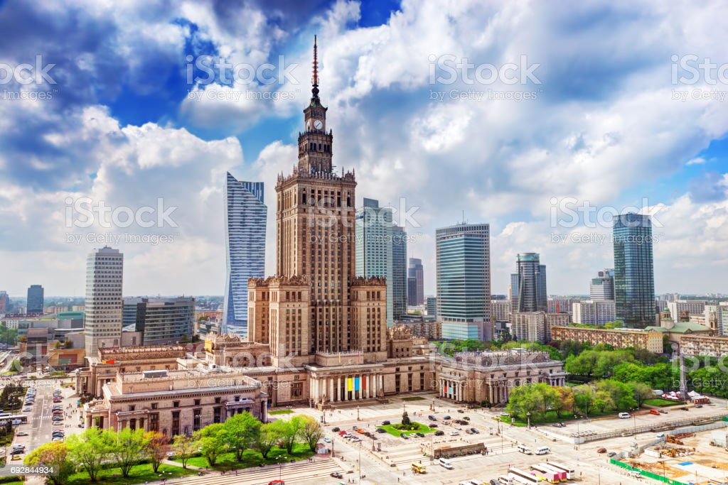 Warsaw, Poland. Palace of Culture and Science and skyscrapers, downtown. stock photo