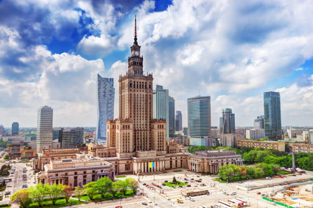 warsaw, poland. palace of culture and science and skyscrapers, downtown. - poland stock photos and pictures