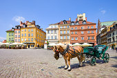Horse Carriage on Castle Square in old town Warsaw, Poland.