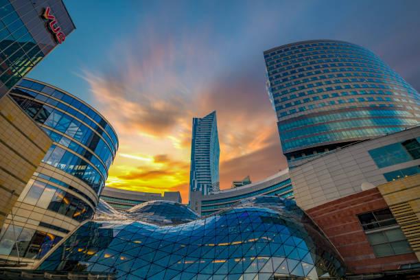 warsaw, poland-skyscrapers in the center of the polish capital - польша стоковые фото и изображения